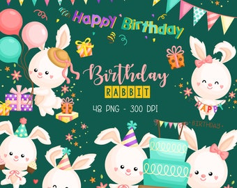 Birthday Rabbit Clipart - Cute Animal Clip Art - Flower Arrangement - Free SVG on Request