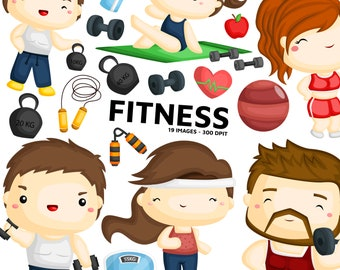 Fitness Health Clipart - Training Gym Clip Art - Fitness Gym - Free SVG on Request