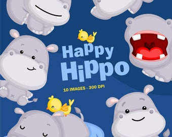 Cute Hippo Clipart - Cute Animal Clip Art - Wild Animal - Free SVG on Request