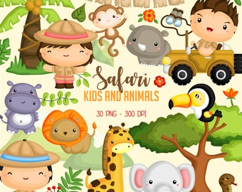 Safari Kids and Animal Clipart -  Jungle Animal Clip Art - Cute Animal -  Free SVG on Request