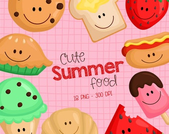 Summer Food Clipart - Refreshing Food Clip Art - Sweets and Cookies - Free SVG on Request