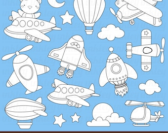 Air Transportation Clipart - Black and White Clip Art - Digital Stamp - Free SVG on Request