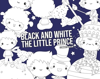 The Little Prince Clipart - Kids Stories Clip Art - Black and White - Free SVG on Request