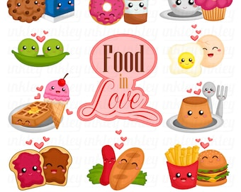 Food and Snacks Clipart - Cute Food and Drinks Clip Art - Free SVG on Request