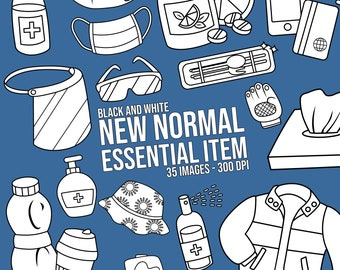 New Normal Essential Item Clipart - Equipment Clip Art - Black and White - Free SVG on Request