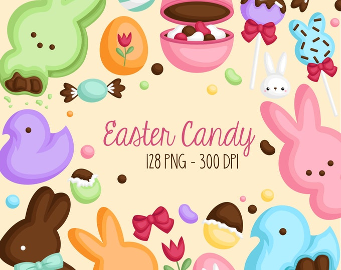 Featured listing image: Easter Candy and Sweets Clipart - Cute Chocolate Egg Clip Art - Easter Holiday - Free SVG on Request