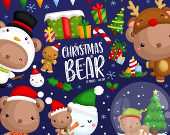 Christmas Bear Clipart - Cute Bear Clip Art - Holiday Clipart - Free SVG on Request