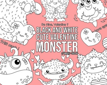 Valentine Monster Clipart - Cute Monster Clip Art - Black and White - Free SVG on Request