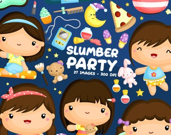 Slumber Party Clipart - Cute Kids Clip Art - Kids Sleeping - Free SVG on Request