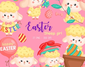 Easter Sheep Clipart - Cute Animal Clip Art - Easter Holiday - Free SVG on Request