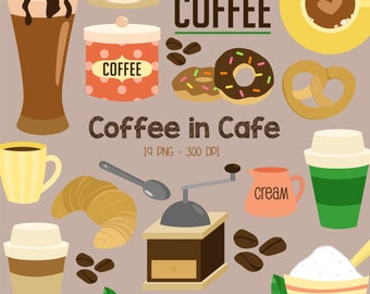 Coffee in Cafe Clipart - Food and Beverage Clip Art - Coffee Latte - Free SVG on Request