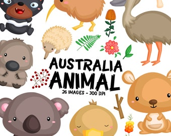 Australia Animal Clipart - New Zealand Animal - Cute Animal Clip Art - Free SVG on Request