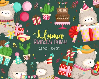 Birthday Llama Clipart - Cute Animal Clipart - Birthday Celebration - Free SVG on Request