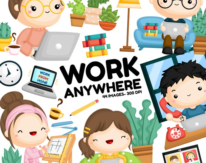 Featured listing image: Work Anywhere Clipart - Working Clipart - Work from Home - Free SVG on Request