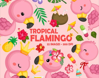 Cute Flamingo Clipart - Tropical Bird Clip Art - Pink Flamingo Clipart - Free SVG on Request