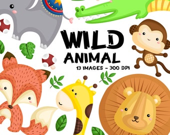 Jungle Animal Clipart - Cute Animal Clipart - Wild Animal -  Free SVG on Request
