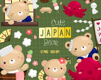 Japan Bear Clipart - Cute Animal Clip Art - Country Tradition - Free SVG on Request