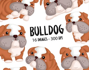 Bulldog Breed Clipart - Cute Dog Clipart - Cute Pet Animal - Free SVG on Request