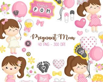 Pregnancy Mom Clipart - Cute Mom Pregnant Clip Art - Motherhood -  Free SVG on Request
