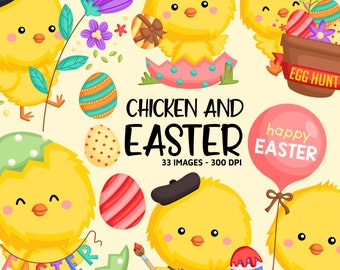 Easter Chicken Clipart - Cute Animal Clip Art - Holiday Celebration - Free SVG on Request
