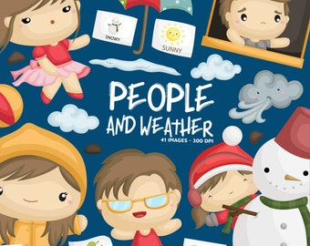 Weather and People Clipart - Four Season Clip Art - Cute Kids - Free SVG on Request