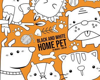 Home Pet Animal Clipart - Dog and Cat Clip Art - Black and White - Free SVG on Request