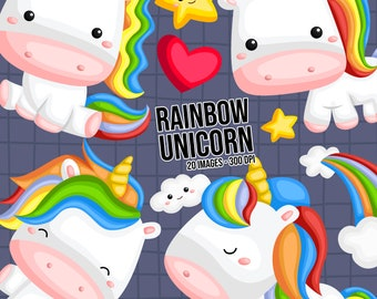 Rainbow And Unicorn Clipart - Cute Unicorn Clip Art - Cute Animal - Free SVG on Request