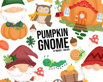 Pumpkin Gnome Clipart - Vegetable Clipart - Cute Gnome Clipart - Free SVG on Request