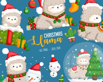 Christmas Llama Clipart - Cute Animal Clipart - Holiday Clipart - Free SVG on Request