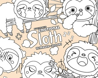 Emotional Cute Sloth Clipart - Cute Animal Clipart Clipart - Black and White - Free SVG on Request