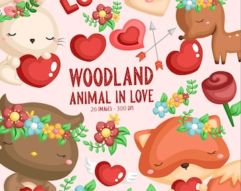 Woodland Animal in Love Clipart - Wild Animal Clip Art - Cute Animal - Free SVG on Request