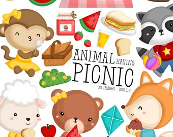 Animal Having Picnic Clipart - Cute Animal Clip Art - Wild Animal - Free SVG on Request