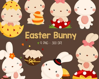 Easter Bunny Clipart - Cute Animal Clip Art - Easter Holiday -  Free SVG on Request