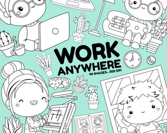 Work Anywhere Clipart - Working Clipart - Black and White - Free SVG on Request
