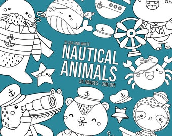 Nautical Animals Clipart - Sealife Clip Art - Black and White - Free SVG on Request