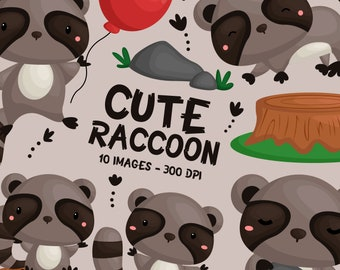 Cute Raccoon Clipart - Woodland Animal Clip Art - Wild Animal -  Free SVG on Request