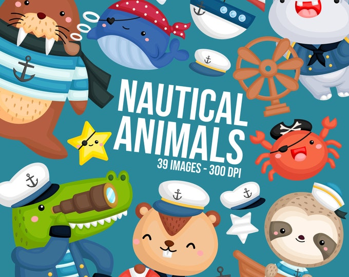 Featured listing image: Nautical Animals Clipart - Sealife Clip Art - Sailing Clipart - Free SVG on Request
