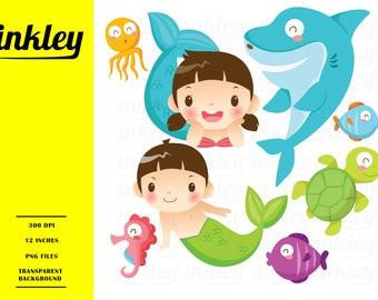 Under The Sea Clipart - Cute Mermaid Clip Art - Fish and Shark - Free SVG on Request