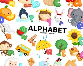 Alphabet Clipart - A to Z Clip Art - Cute Object and Animal - Free SVG on Request