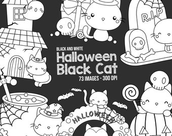 Halloween Party Clipart - Halloween Pumpkin Clip Art - Black and White - Free SVG on Request