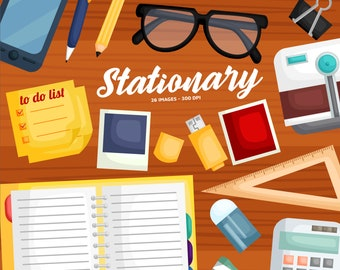Stationary Clipart - Notebook Clip Art - Pen, Pencil, and Eraser - Free SVG on Request