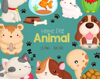 Home Pet Animal Clipart - Dog and Cat Clip Art - Cute Animal Clipart - Free SVG on Request