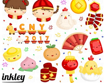 Chinese New Year Clipart - Chicken Zodiac Clip Art - New Year Holiday - Free SVG on Request