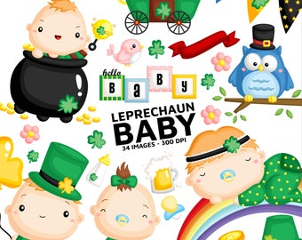 Leprechaun Babies Clipart - Cute Baby Clip Art - Character and Story - Free SVG on Request