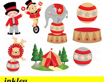 Circus Carnival Clipart - Cute Animal Clip Art - Cute Clown - Free SVG on Request