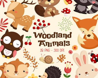 Woodland Animal Clipart - Cute Forest Animal Clip Art - Wild Animal -  Free SVG on Request