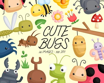 Cute Bugs Clipart - Bugs Types Clip Art - Bug and Insect - Free SVG on Request