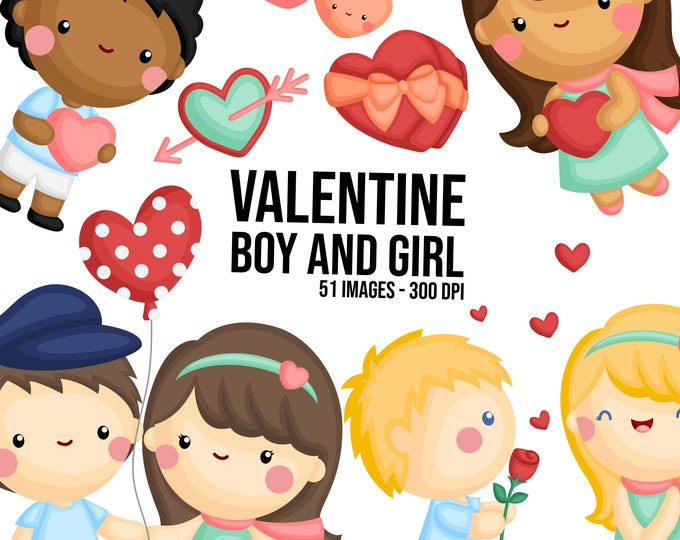 Featured listing image: Valentine Couple Clipart - Cute Valentine Clipart - Love Clipart - Free SVG on Request