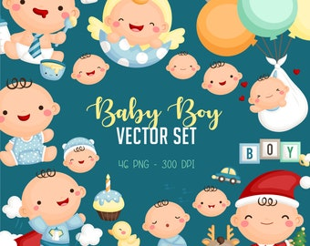 Cute Baby Boy Clipart - Cute Babies Clip Art - Baby Shower - Free SVG on Request