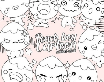 Peach boy Clipart - Expression Clip Art - Black and White - Free SVG on Request